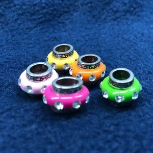 Set of 5 colorful Brighton charms